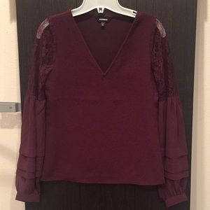 Express XXS lace and ruffle detail long sleeve top
